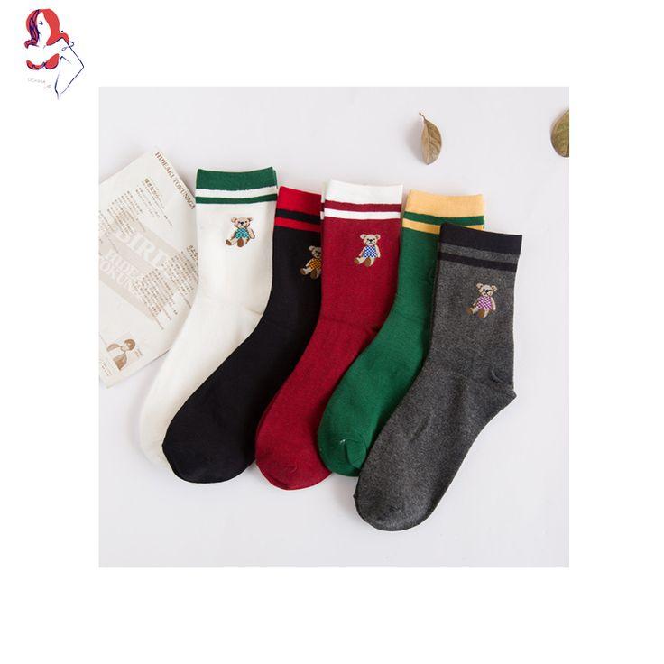UCHIHA LQ Five Colors Available 2017 New Women Cotton Cycling Socks 1 Pair/lot Cute Cartoon Bear Calcetines Ciclismo