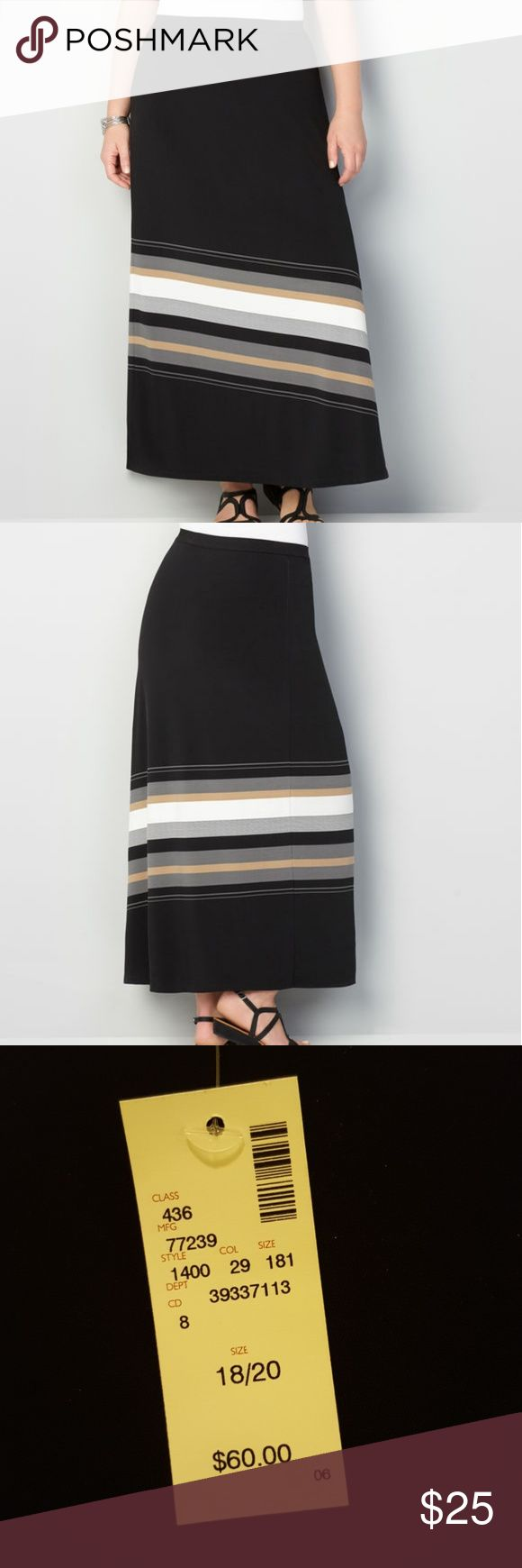 """NWT Diagonal Stripe Maxi Skirt Avenue VIP Knits Collection - easy care, easy wear pull-on plus size skirt. Beautiful neutral stripes at the hem for tone on tone look. 36"""" maxi length with side slit.Covered elastic waist.Polyester/spandex. Machine wash. Black with tan, gray, white stripes. Size 18/20 Avenue Skirts Maxi"""