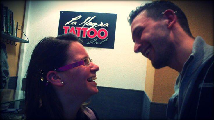 #industrial #piercing #couple #ear
