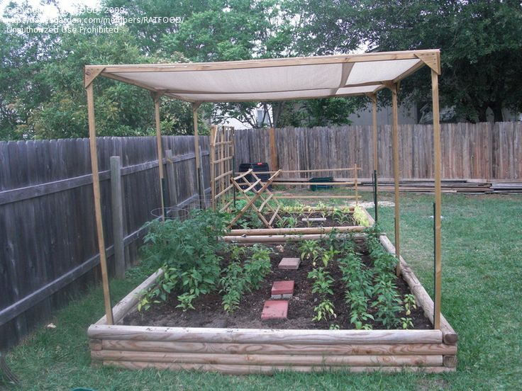 "raised garden with a shade cloth to protect the veggies from direct (HOT) sun! the shade cloth is called ""sun screen fabric"""