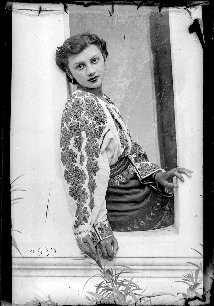 Romania, 1939 (Costica Acsinte) 30s 40s war era vintage fashions style women ladies ethnic embroidered floral puff sleeve blouse found photo girl window