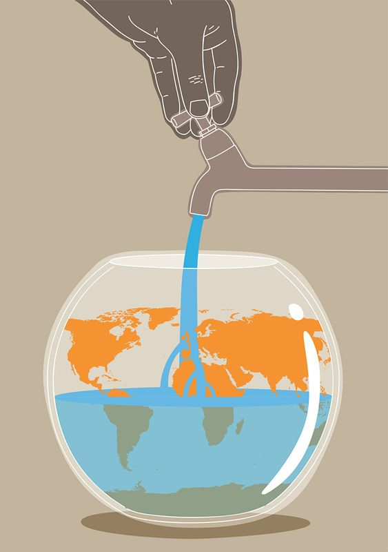 Illustration,  conceptual, editorial, water shortage, climate change, Federico Gastaldi, Salzmanart.com