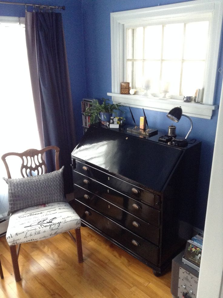 My great grandmother's pigeon-hole desk reno:  high gloss black enamel, red pigskin writing surface, gold and brass furniture... Feb 2016.  The chair is Mike's great grandparent's Quebec Chippendale style side chair, also renoed.