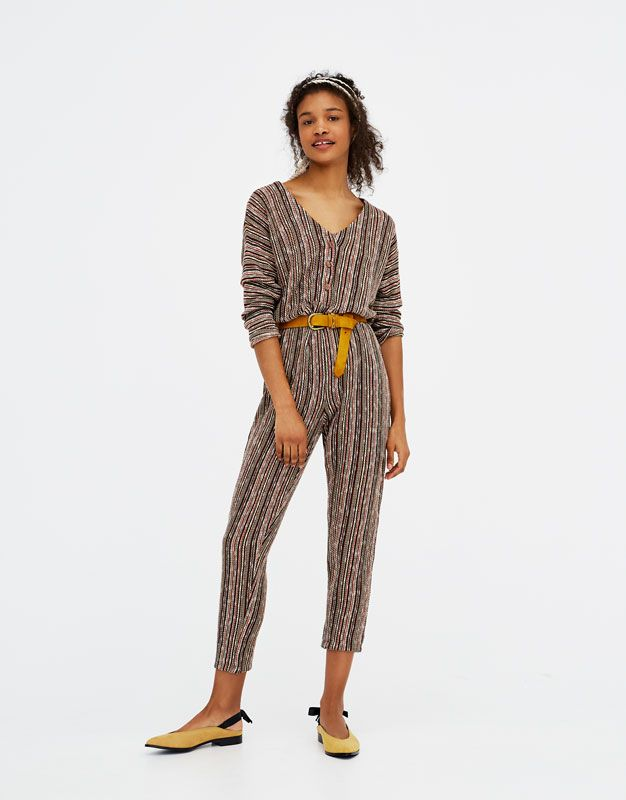Pull&Bear - woman - new - long jumpsuit with front buttons - sand - 05638314-V2018