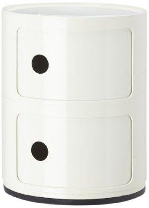 Contenitore componibile Kartell di colore Bianco  - Mobile pratico e funzionale per la conservazione - Elementi a cassetta per diversi usi - Impilabili in modo elementare e stabile - Disponibile in versione rotonda o quadrata - Un classico di Anna Castelli Ferrieri Mobile pratico e funzionale per la conservazione