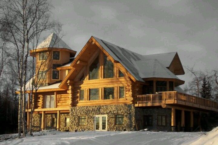 From the website log cabin works alaska i love the for Alaska log home builders