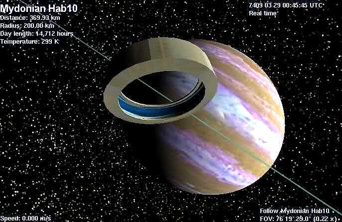 Bishop Ring orbiting a huge gas giant planet. #BishopRing ...