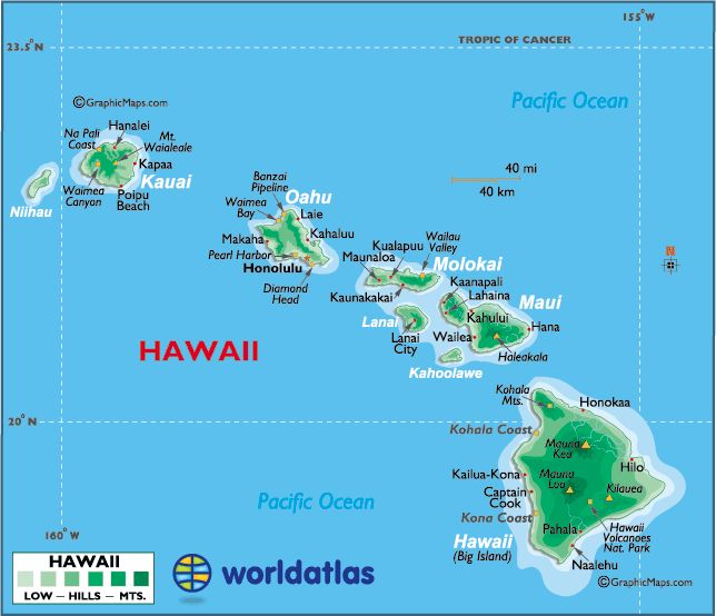 map of hawaii large color map