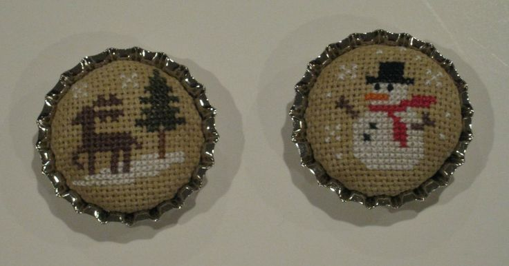 Cross-stitch in bottle caps