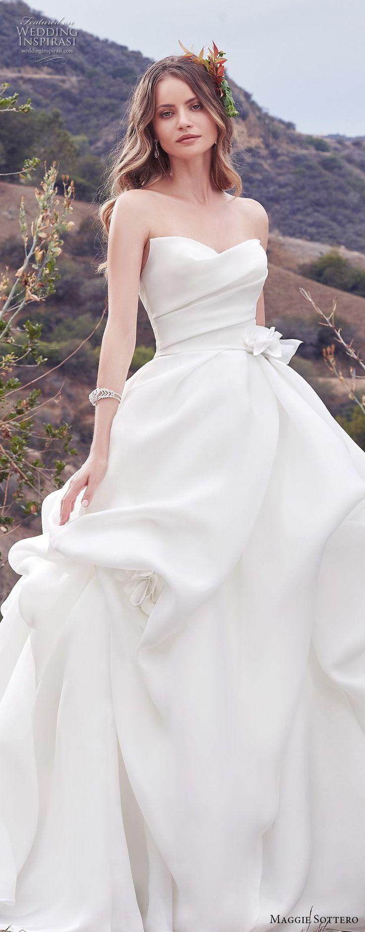 Maggie Sottero Herbst 2017 Braut trägerloses herzförmiges Ausschnitt einfaches Kleid mit Rüschen   – Hochzeitskleider