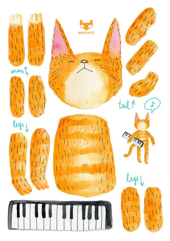 Articulated paper doll - Keyboard cat  -  DIY print set. $9.00, via Etsy.