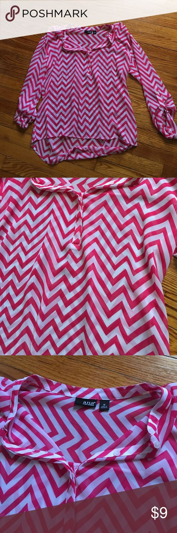 Pink Chevron Blouse Pink and white chevron blouse a.n.a Tops Blouses