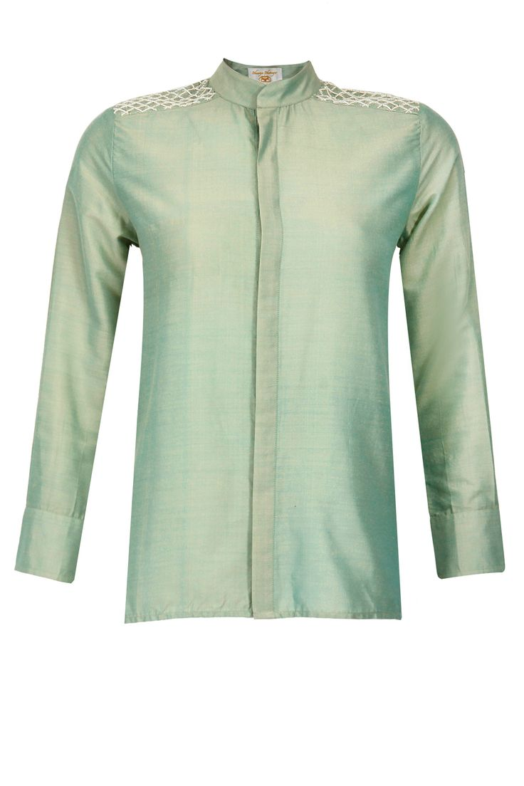 Mint green pearl beading shirt by BHAAVYA BHATNAGAR. Shop now only at www.perniaspopupshop.com! #bhaavyabhatnagar #green #mint #pearl #beading #shirt #perniaspopupshop #celebrity #designer #fashion #style #chic #trendy #clothes #shopnow #happyshopping