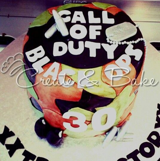 Cake creating in Cape Town, South Africa. www.createandbake.co.za    Camoflage camo gamers cake. Call of duty, black ops