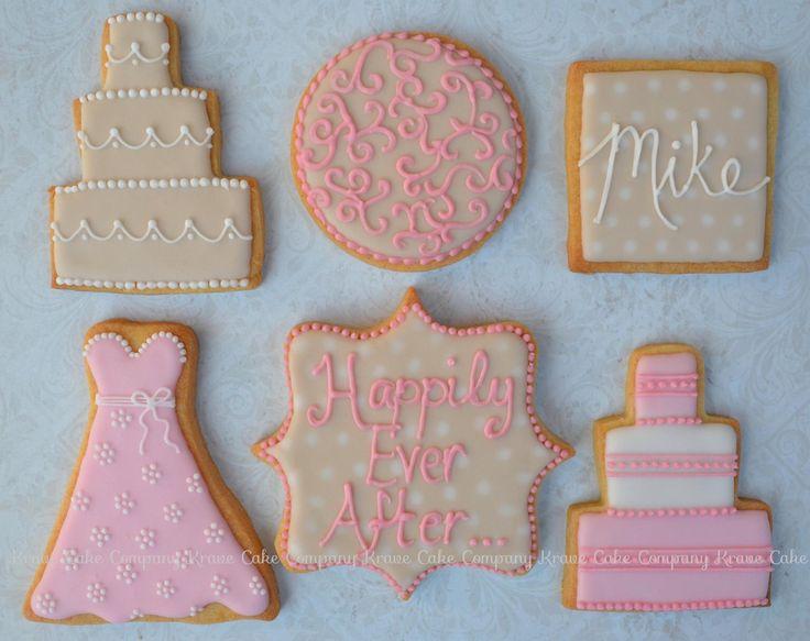 Pink and beige Wedding favor cookies