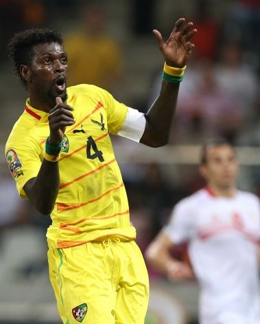 Togo's Emmanuel Adebayor reacts after a goal attempt during their African Cup of Nations Group D soccer match against Tunisia at Mbombela Stadium in Nelspruit, South Africa, Wednesday Jan. 30, 2013. Photo: Themba Hadebe