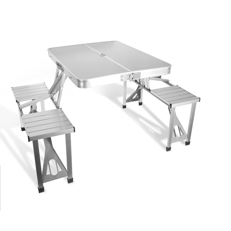Outdoor Furniture Garden Sets Portable Aluminium Alloy Fold Picnic Desk with Four Seats Hot Sale Occasional Table Beach Chair