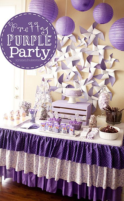 Pretty Purple Party with lots of fun elements. Think of the possibilities with any color scheme! www.KristenDuke.com #party #purple #kids