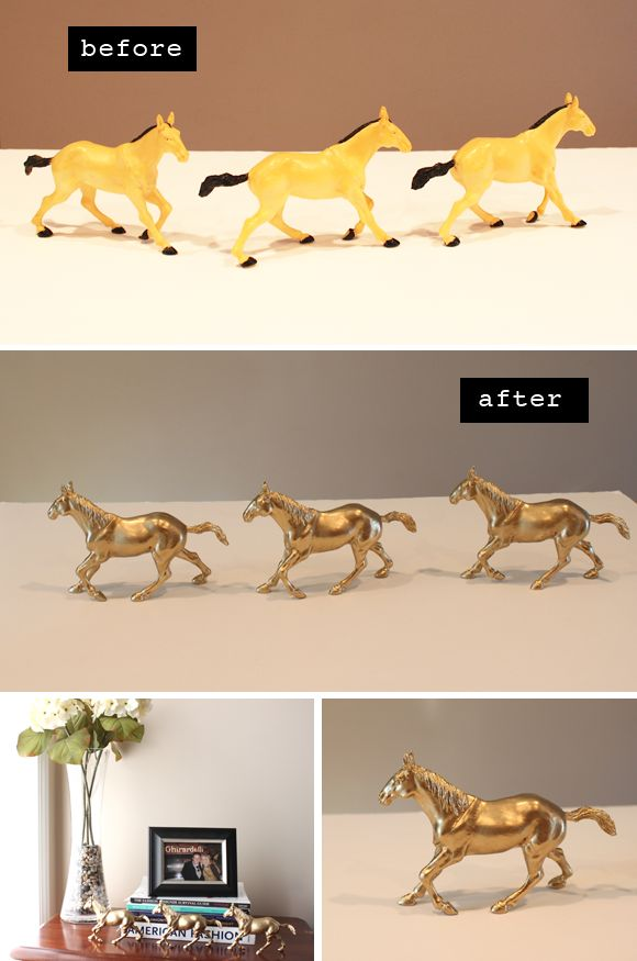plastic animals + gold spray paint = awesome bookcase decor