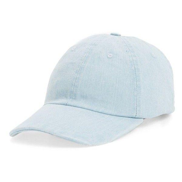 Women's Topshop Denim Baseball Cap featuring polyvore, women's fashion, accessories, hats, light denim, baseball hat, denim cap, topshop hats, baseball cap hats and baseball caps
