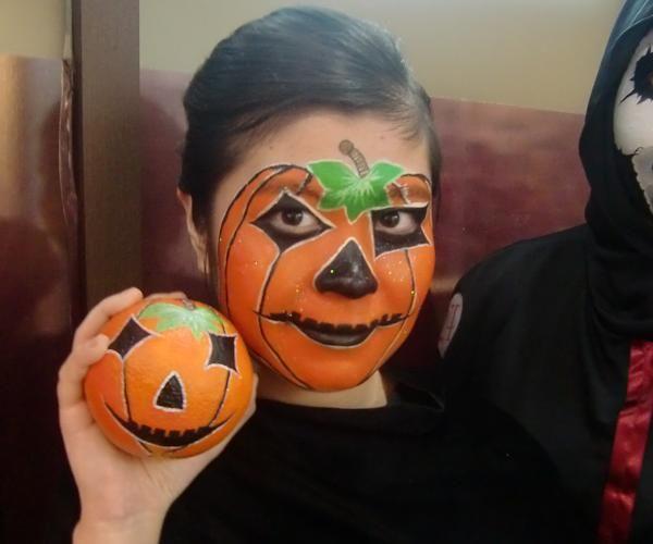 Idea trucco per Halloween! Monster make-up per bambine. Trucco zucca
