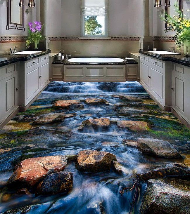 décoration d'intérieur revêtement sol personnalisé paysage la cascade