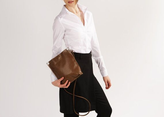 "Leather Crossbody ""Monica Olive"", Small Dark Green Leather Crossbody Handbag, Bag for iPad mini, Leather Crossbody Purse, Minimalist Bag"