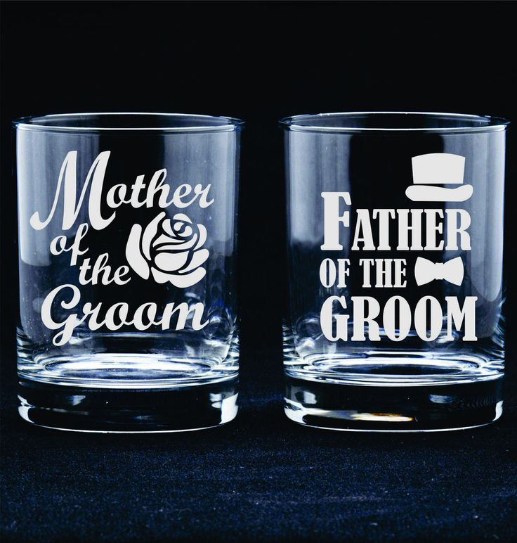 Mother Father of the Bride Groom Etched Frosted Toasting Rocks Glasses