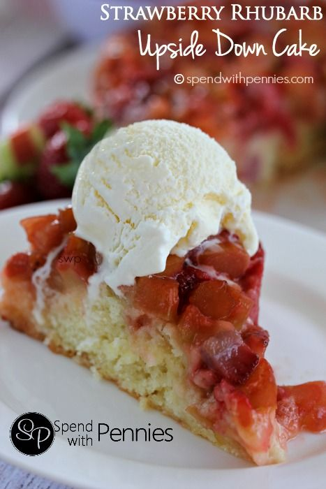 Strawberry Rhubarb Upside Down Cake - Spend With Pennies