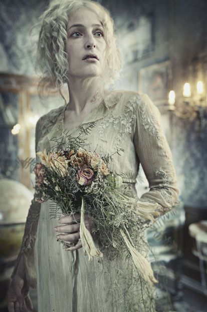 Gillian Anderson cuts a ghostly figure as Miss Havisham in the BBC's Christmas adaptation of Great Expectations.