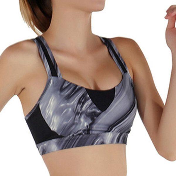 Women Cozy Shockproof Wireless Waves Printing Breathable Yoga Sport Vest Bra