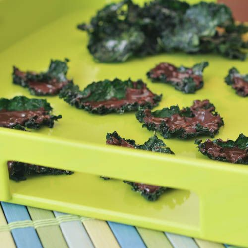 Chocolate-Dipped Sugared Kale Chips, two birds, one stone: vitamin K and chocolate fix.