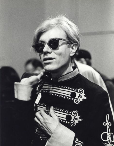 Andy Warhol in band uniform at thrift shop, St Mark's Place, NYC,  vintage gelatin silver, ca. 1966