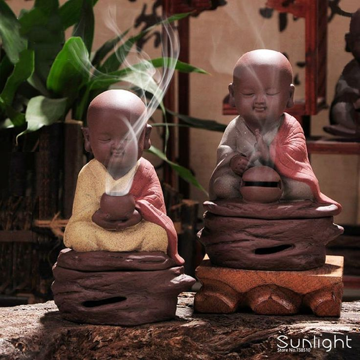 Aliexpress.com: Comprar Regalo chino quemador de incienso de cerámica con recipiente de incienso deseando joven monk buddha para 5 cm aromaterapia incienso bobina de hamburguesa de cerámica fiable proveedores en YOUR LUCKY STAR