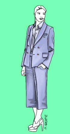 Schmale, gerade Culottes mit Bügelfalten sind figurfreundlich, können auch mit einem längeren Top getragen werden und ersetzen auch mal den Bleistiftrock im Business-Look.