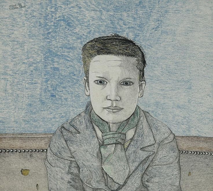 'Boy on a Sofa' by Lucian Freud, 1944 (pencil, charcoal and coloured chalk)