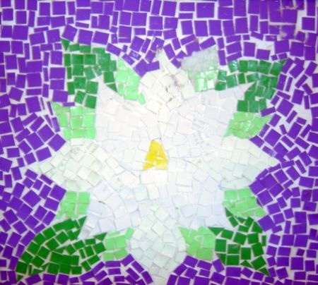 my daughter came up with this idea as a middle school student placing first in district with this magnolia mosaic