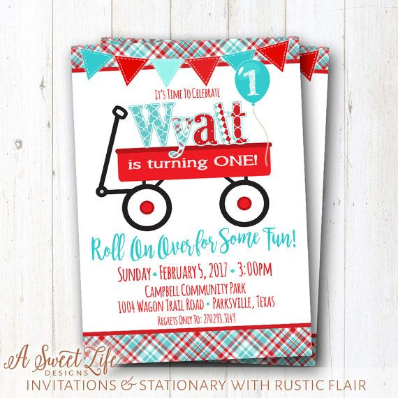 Little Red Wagon Birthday Party Invitation   Red Wagon Party