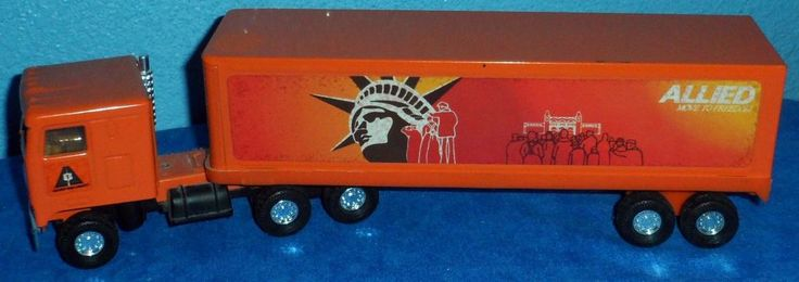 ALLIED MOVING VAN Statue of Liberty Kenworth Cab trailer Ertl Truck 1980's? E5 #Ertl #Kenworthcab
