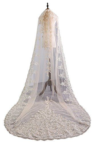 4bf83181a44 yuanzhuoshangp Champagne Lace Bridal Veils Cathedral Length Wedding Veils