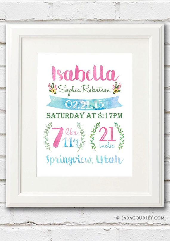 BABY GIRL BIRTH STATS: 8 x 10DIGITAL FILE OR PRINT This beautiful print of your sweet little ones birth statistics will add a personal touch to