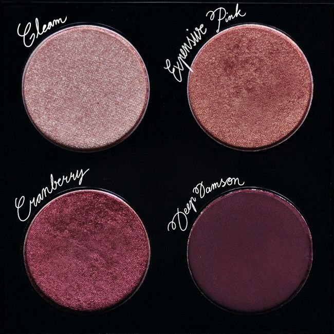MAC - Custom eyeshadow palette in Gleam, Expensive Pink, Cranberry, Deep Damson | 59€ | Source: unknown