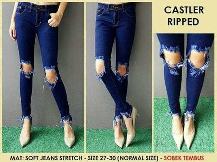 """""Ripped jeans castler Material: soft jeans Harga: 135 Size: 27-30 Order PIN CS1-5A1F32FA PIN CS2-5FI5DE72 & SMS/WA 087722-575-101  Reseller & Dropship Welcome!  Happy Shopping! :) #jamtangan #jamtanganwanita #jammurah #grosirjam #sweatercouple #flatshoes #jamtanganterbaru #resellerjamtangan #taswanita #sneakerscwe #celanajeansripped #jamtanganartis #olshop #wedgesterbaru #jaketjeans  #resellerwelcome #celanajeans #sepatubandung #overall"