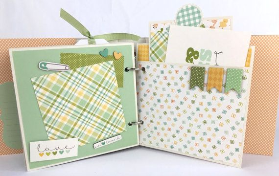 Baby Boy Scrapbook Mini Album Kit or Premade by ArtsyAlbums