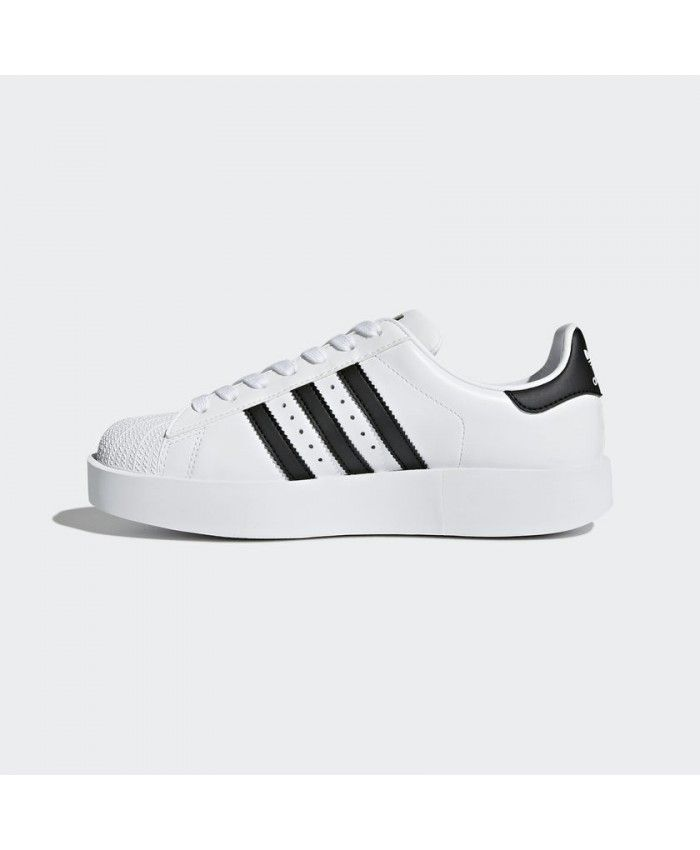 859471cff9ef Adidas Superstar Bold Platform Womens Trainers In Black White ...