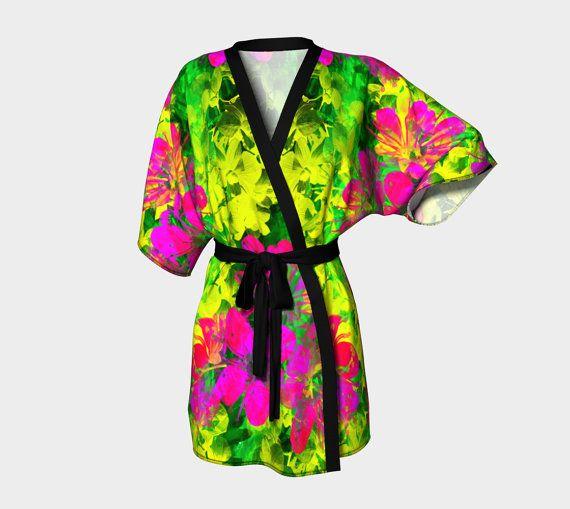 Kimono Robe  chiffon robe  luxury robes by Traceyleeartdesigns