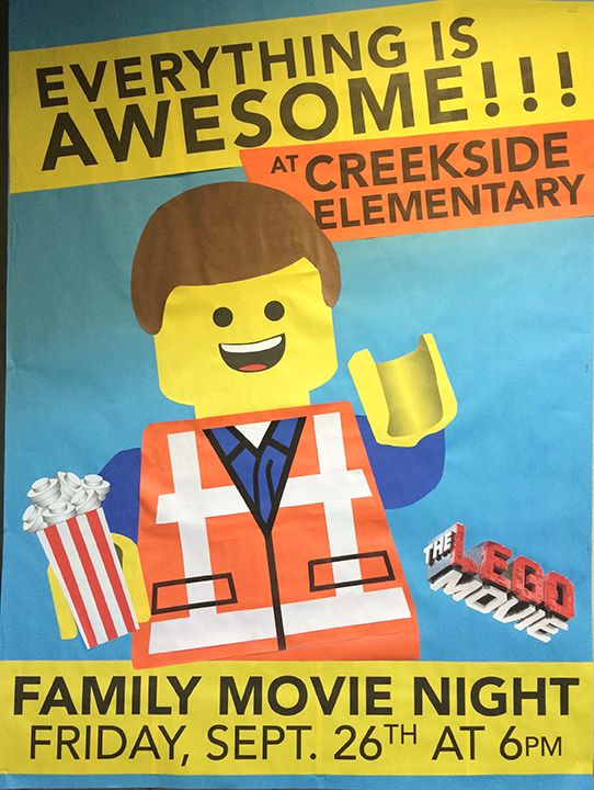 Lego Movie Family Movie Night Everything is Awesome Bulletin Board #Creekside
