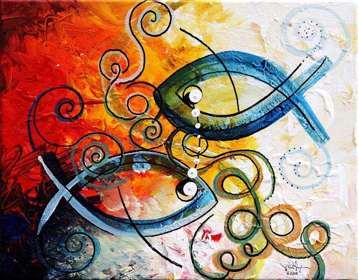 Ichthicus fish paintings on canvas art fish art for Peinture mural original