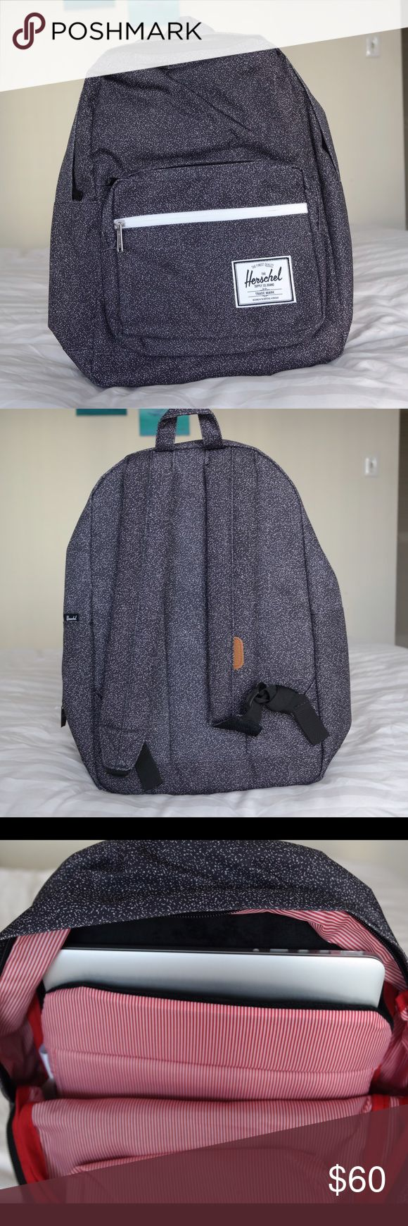 """Herschel Pop Quiz backpack Brand new, never used, tags were removed.  Dark grey with purple specks padded straps. Exterior has 2 front pockets (one with key clip) and fleece lined sunglasses compartment. Interior has padded fleece 15"""" laptop sleeve and internal media pocket with headphone port. Laptop and headphones shown are NOT INCLUDED More pics available.. Herschel Supply Company Bags Backpacks"""