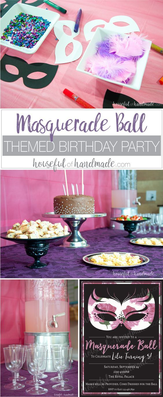 This is my new favorite kids birthday party theme! See how easy it was to create a masquerade ball themed birthday party. Includes ideas for the cake, food, games, decorations, and lots of printables too. | Housefulofhandmade.com